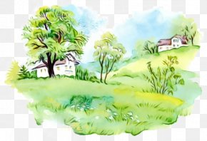 Drawing Landscape - Green Grass Background PNG