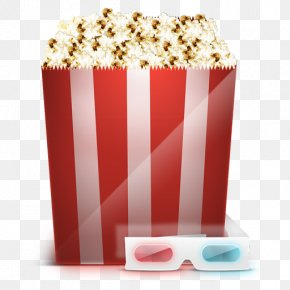 Cartoon Popcorn - Cinema 3D Film Polarized 3D System PNG