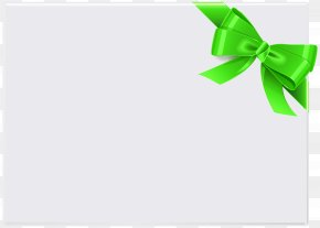 Empty Card With Green Ribbon Clip Art - Paper Green Leaf Font PNG