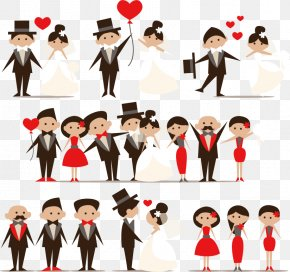 The Bride And Groom Cartoon Creative - Cartoon Wedding Marriage Clip Art PNG