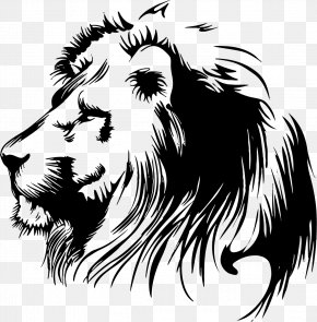 Painted Lion - Lion Stencil Clip Art PNG