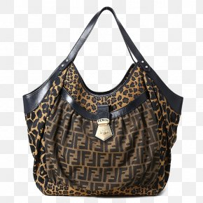 Fendi Brown Leopard Canvas Shoulder Bag - Tote Bag Canvas PNG
