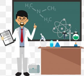 Cartoon Chemistry Teacher - Chemistry Chemical Formula Teacher Science PNG