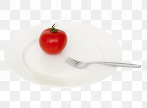 Plate Tomato Fork - Fork Spoon Plate Fruit PNG