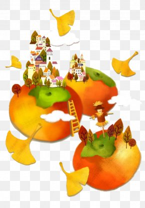 Kingdom Of Persimmon - Cartoon Persimmon Watercolor Painting Illustration PNG