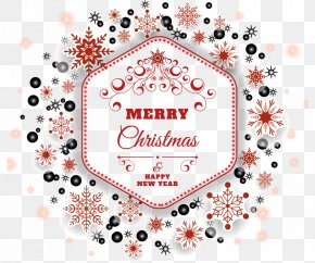 Hexagonal Red Border Christmas Greeting - Light Snowflake Euclidean Vector Hexagon PNG