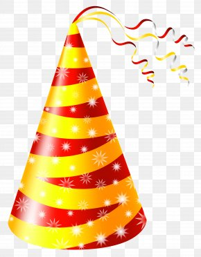 Yellow And Red Party Hat Clipart Image - Birthday Party Hat Clip Art PNG