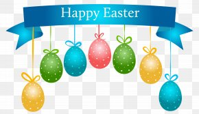 Happy Easter Banner With Hanging Eggs Transparent Clip Art Image - Easter Bunny Wedding Invitation Banner Clip Art PNG