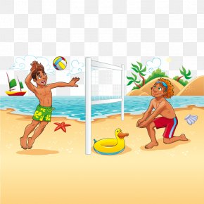 Vector Beach Volleyball - Beach Volleyball Cartoon PNG