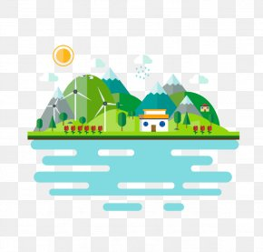 Simple Village Picture Material - Landscape Stock Illustration Adobe Illustrator Illustration PNG