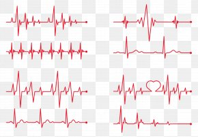 Vector Red Heart Beat - Heart Rate Electrocardiography PNG