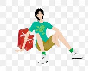 Man Sitting - Cartoon Illustration PNG