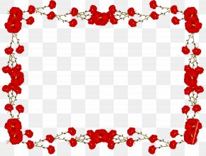 Red Flower Frame Transparent - Picture Frame Flower Rose Clip Art PNG