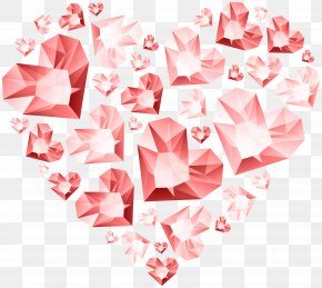 Red Hert Of Diamond Hearts Transparent Clip Art - Heart Clip Art PNG