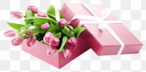 Box With Pink Tulips Transparent Picture - Tulip Pink Clip Art PNG