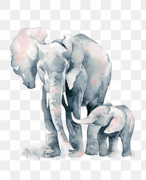 Elephant - Watercolor Painting African Elephant Drawing PNG