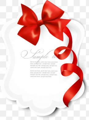 Red Bow Letter Card - Gift Ribbon Red Illustration PNG