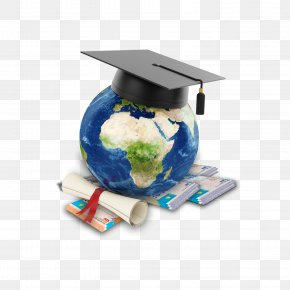 Education - Globe Diploma Square Academic Cap Graduation Ceremony PNG