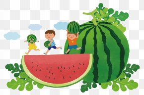 Cartoon Holding Watermelon Child Watermelon Background - Watermelon Summer Illustration PNG