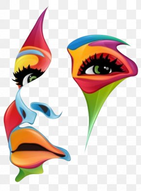 Color Face Outline - Work Of Art Painting Illustration PNG