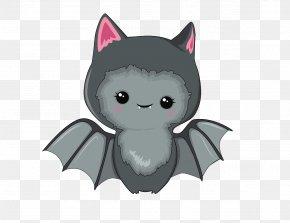 Kawaii Bat Monster - Kitten Cartoon Whiskers Cat PNG