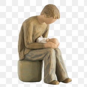Father And Child Wood Willow Tree - Willow Tree Quietly Figurine Collectable Sculpture PNG