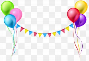 Streamer And Balloons Clip Art Image - Balloon Serpentine Streamer Clip Art PNG