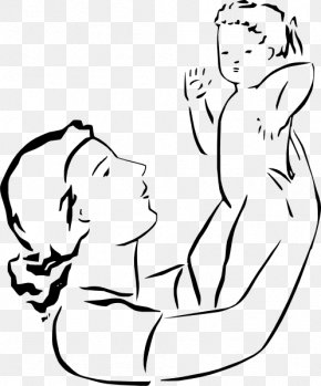 Mom And Baby Cartoon - Mother Child Line Art Clip Art PNG