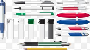 Vector Hand Colored Ballpoint Pen - Paper Ballpoint Pen Drawing PNG