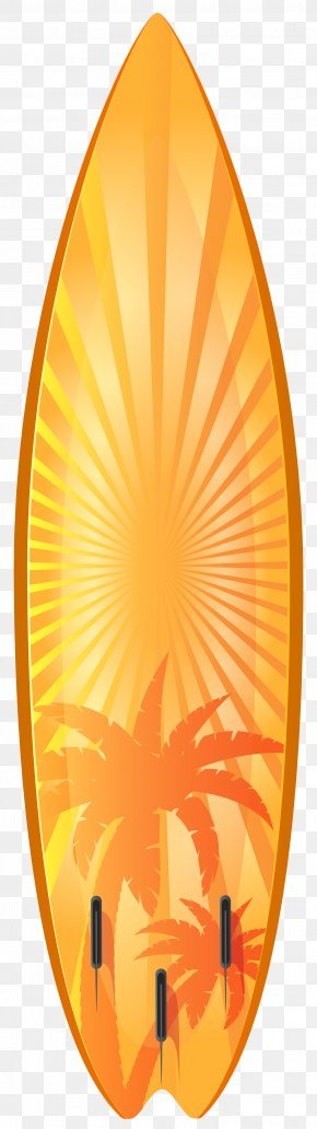Orange Surfboard With Palm Trees Transparent Clip Art Image - Surfboard Surfing Clip Art PNG