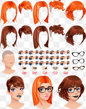Vector People Face Dress Material - Euclidean Vector Download Hairstyle PNG