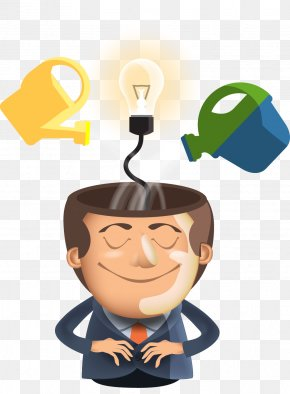 Flat Creative Cartoon Brain - Idea Creativity Template PNG