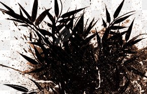 Bamboo Decorative Material And Ink Jet - Brush Ink Splatter Film PNG