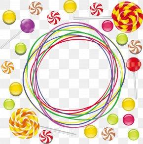 Vector Colored Lollipop Ring - Lollipop Candy Illustration PNG