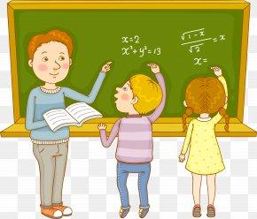 Math Class Teacher And Student - Teacher Mathematics Estudante PNG
