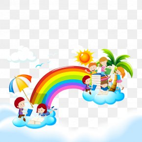 Vector Rainbow Sky - Reading Book Child Illustration PNG
