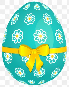 Sky Blue Easter Egg With Flowers And Yellow Bow Picture - Easter Egg Easter Basket Clip Art PNG