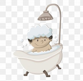 Cute Little Boy Baby Shower Pictures - Bathing Cartoon Shower Gel PNG