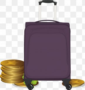 Database Gold Purple Suitcase Vector Material - Hand Luggage Purple PNG
