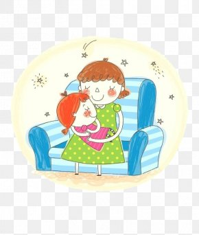 Happy To Fall Asleep - Child Mother Cartoon Illustration PNG