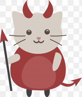 Red Devil Cat - Black Cat Whiskers Halloween Euclidean Vector PNG