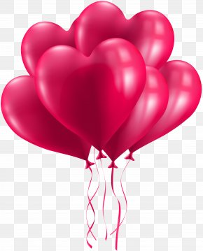 Bunch Of Heart Balloons Transparent Image - Birthday Cake Wish Greeting Card Clip Art PNG