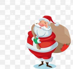 Vector Santa Claus Gift Back - Santa Claus Christmas PNG