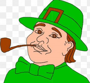 Cartoon Smoking Man - Ireland Leprechaun Saint Patrick's Day Clip Art PNG