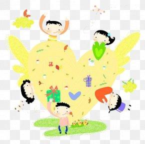 Cartoon Child Love - Cartoon Child Drawing Illustration PNG