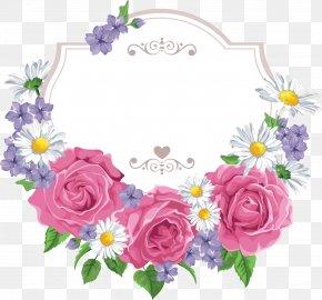 Flower Border - Flower Cartoon Greeting Card PNG