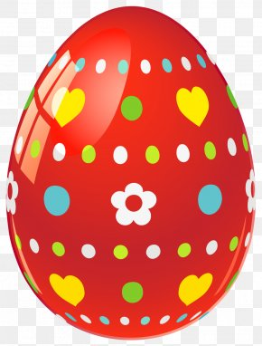Red Easter Egg With Flowers And Hearts Picture - Easter Bunny Easter Egg Egg Decorating Clip Art PNG