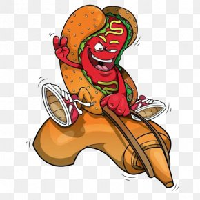 Riding A Hot Dog With Tomato Sauce - Hot Dog Ketchup Illustration PNG