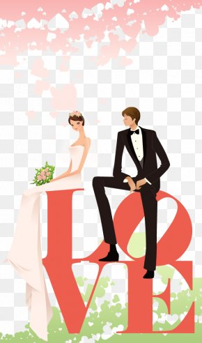 The Bride And Groom And Wedding Word Love Vector Material - Wedding Invitation Bride Clip Art PNG