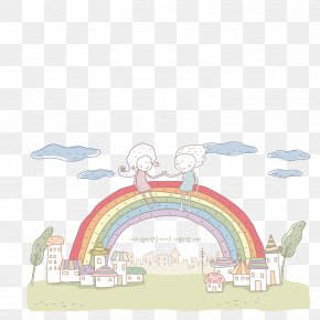A Good Friend Sitting On The Rainbow - Love Wallpaper PNG